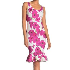 Outing Floral Sleeveless Ruffled Sheath Dress